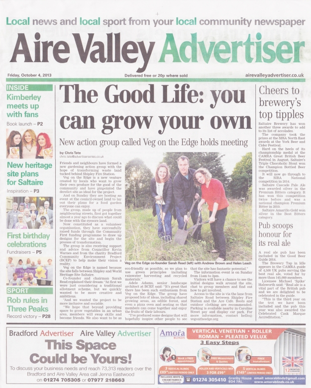 Veg On The Edge take pride of place on the front page of local paper The Aire Valley Advertiser