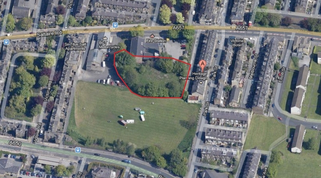 Proposed site of Veg on the Edge community food garden, to the rear of the Fire Station on Saltaire Road